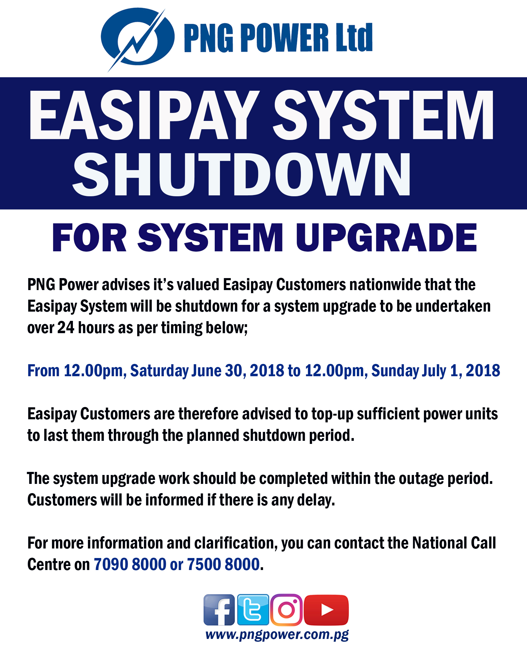 Easipay System Shutdown for Upgrade work on Saturday June 30