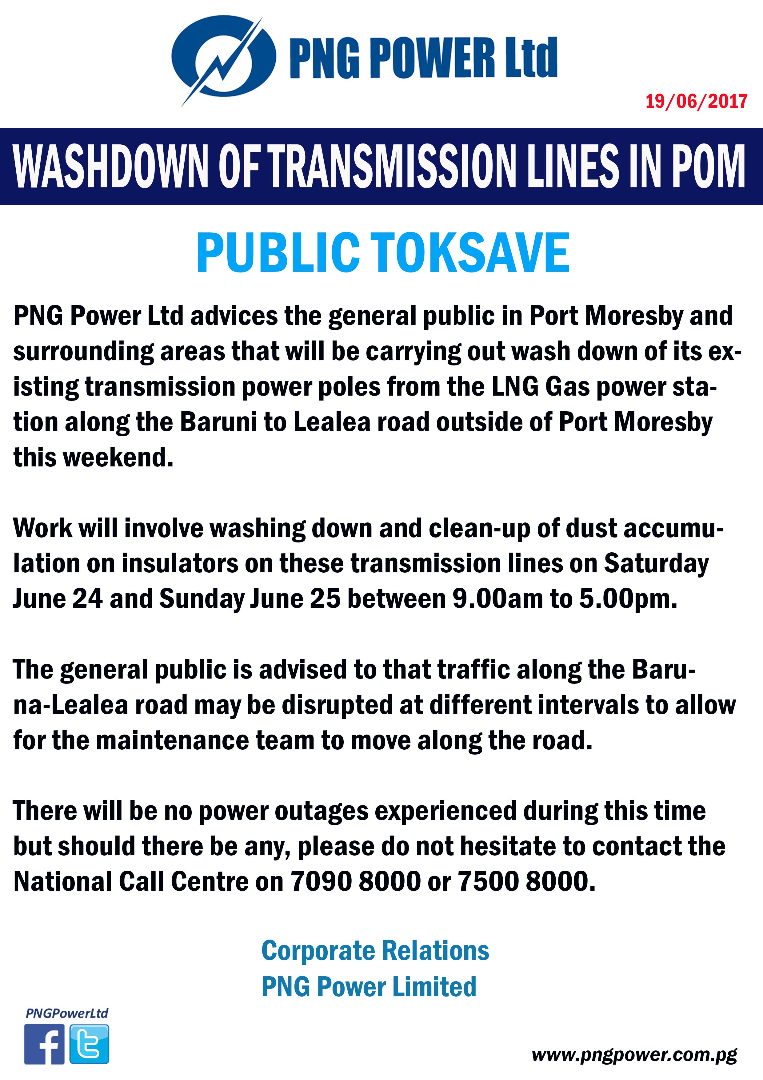 WASHDOWN OF TRANSMISSION LINES IN PORT MOREBY