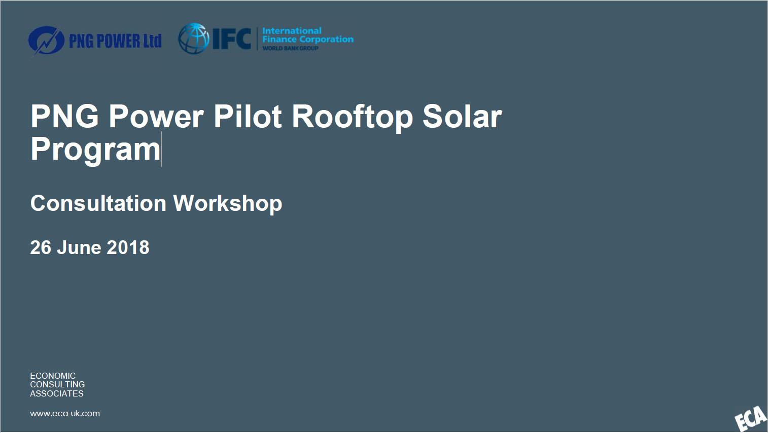 PNG Power Pilot Rooftop Solar Program
