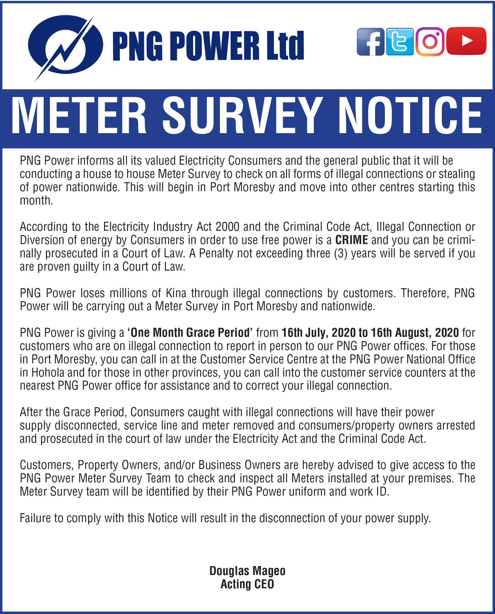 Meter Survey to be carried out nationwide